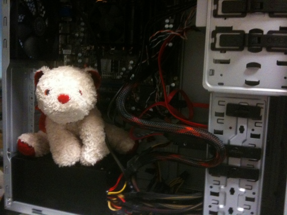 This computer is powered by a quad paw cute bear processor